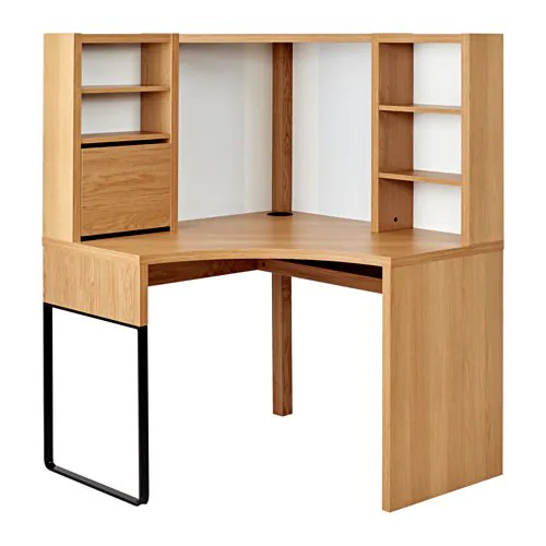 MICKE Corner Workstation Oak Effect 100 X 142 Cm IKEA