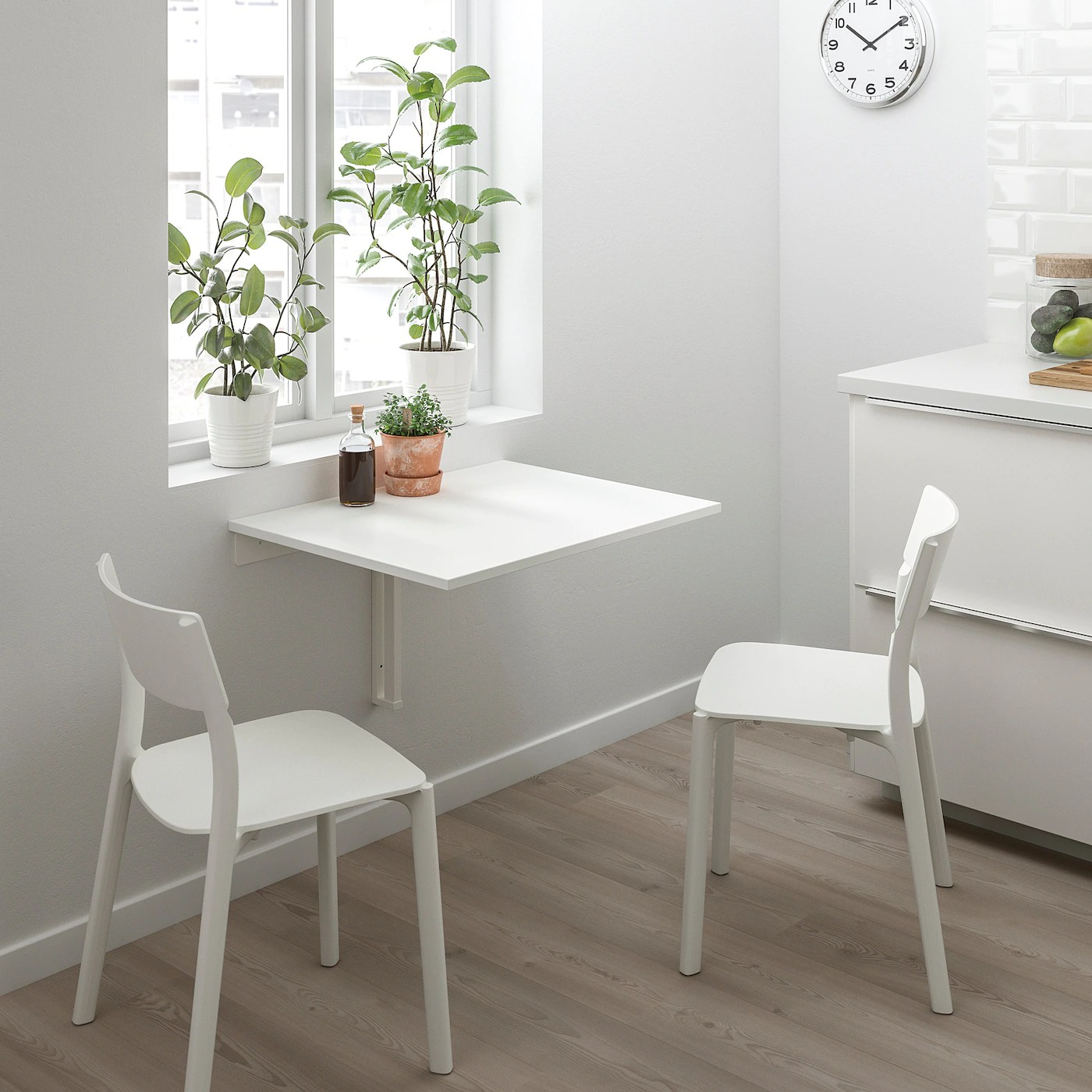 Norberg White Wall Mounted Drop Leaf Table Ikea