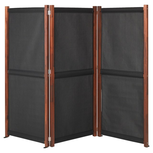 Slatto Black Brown Stained Privacy Screen Outdoor Ikea