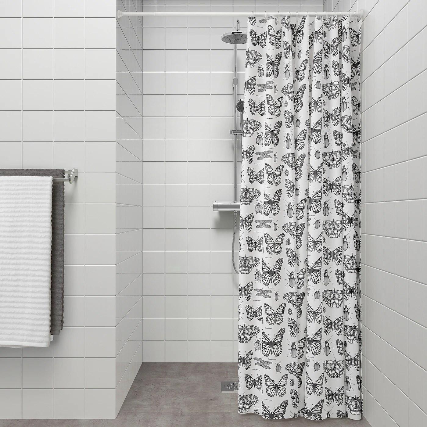 sommarmalva shower curtain white dark grey 180x180 cm