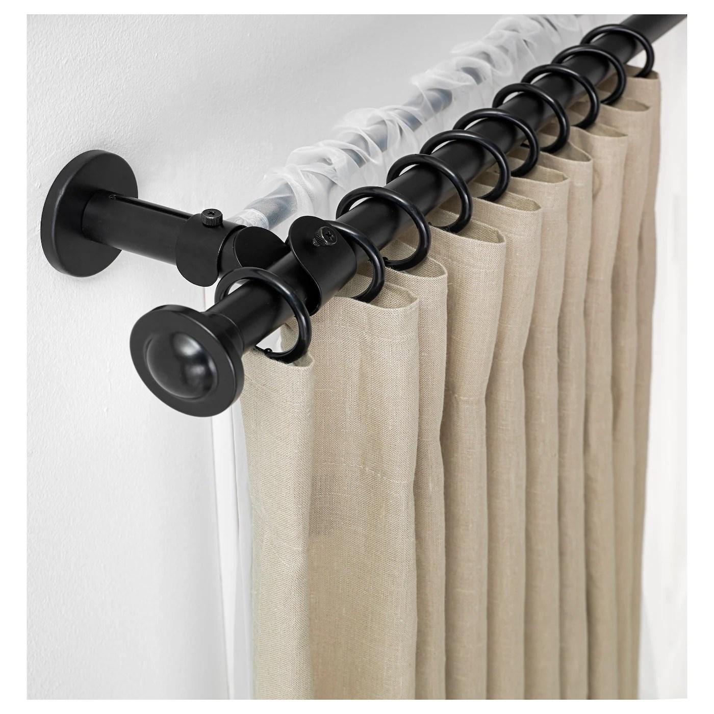 storslagen double curtain rod set black 120 210 cm