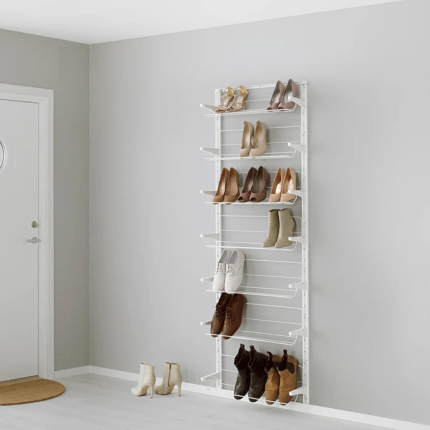 algot wall upright shoe organiser white 66x21x199 cm