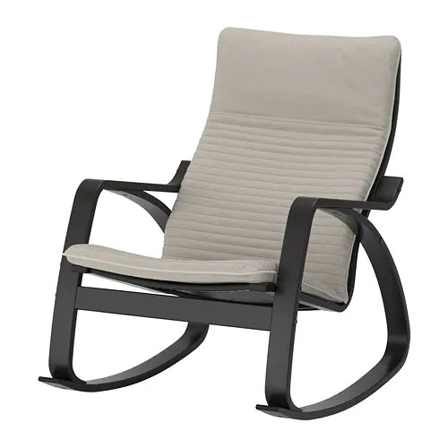 Poäng Rocking Chair Black Brown Knisa Light Beige