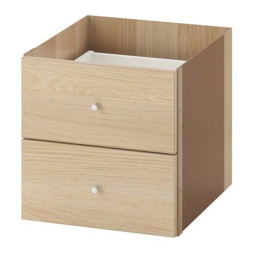 KALLAX カラックス インサート 引き出し2段 IKEA インサートは背面にも仕上げを施しているので、収納ユニットを部屋の間仕切りとして使用したとき、どちら側から見てもきれいです 簡単に組み立てられます