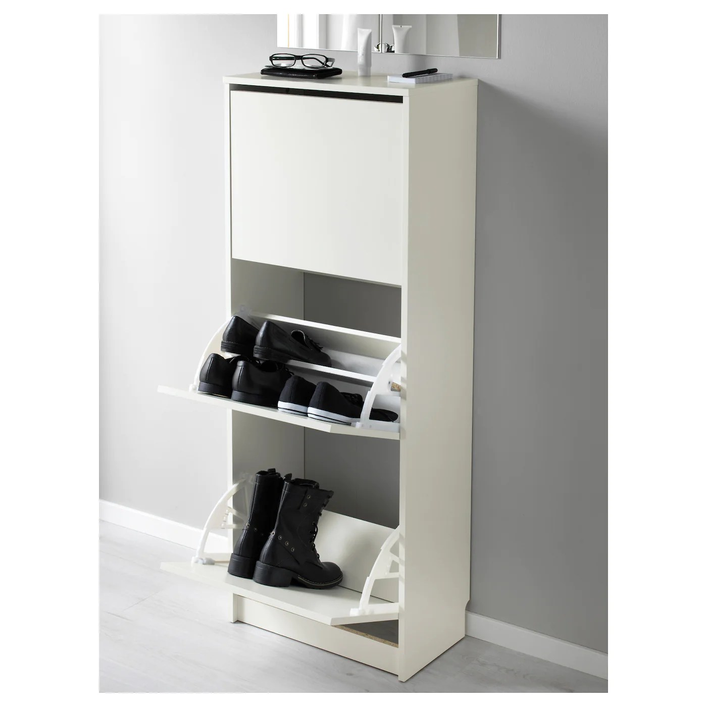 bissa shoe cabinet with 3 compartments white 49x28x135 cm