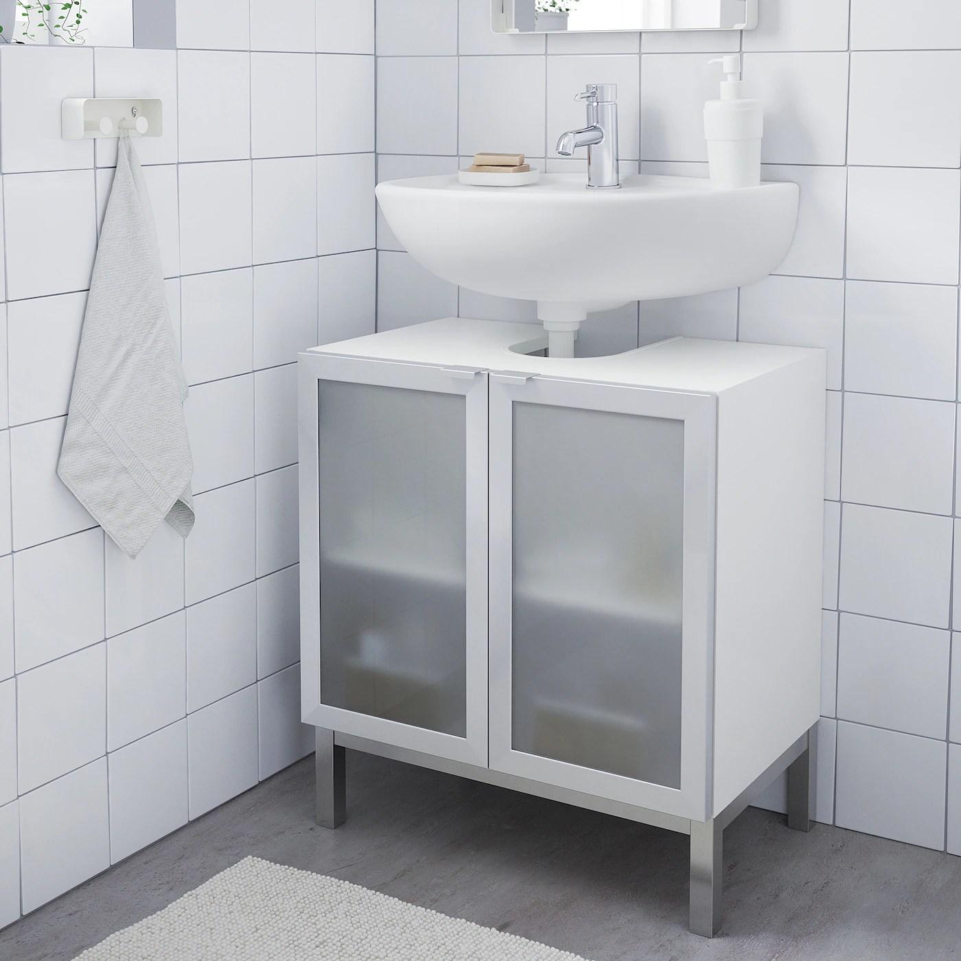 lillangen wash basin base cabinet w 2 doors white aluminium 60x38x51 cm