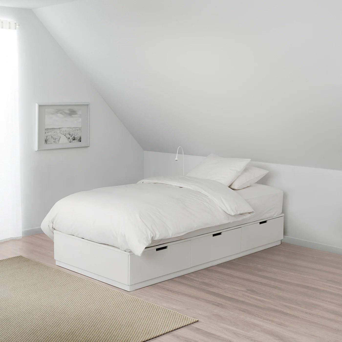 Nordli Bed Frame With Storage White 120x200 Cm Ikea