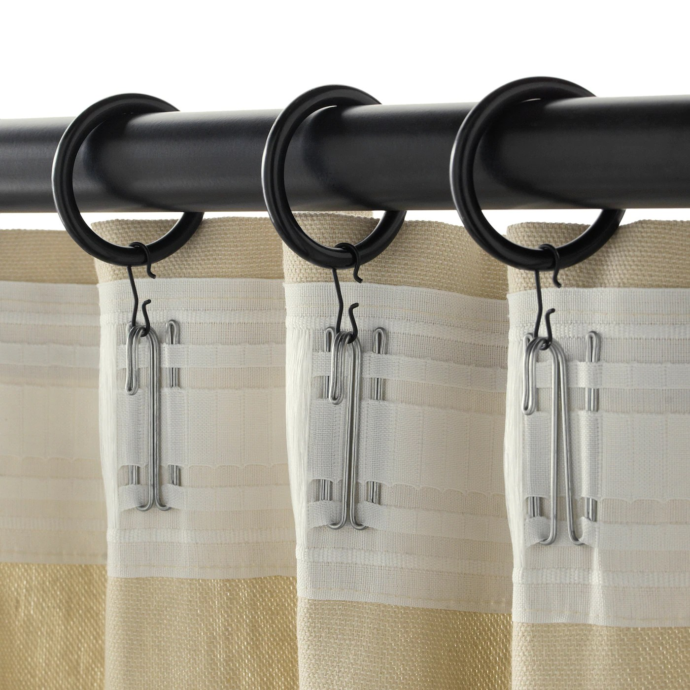 syrlig curtain ring with clip and hook black 38 mm