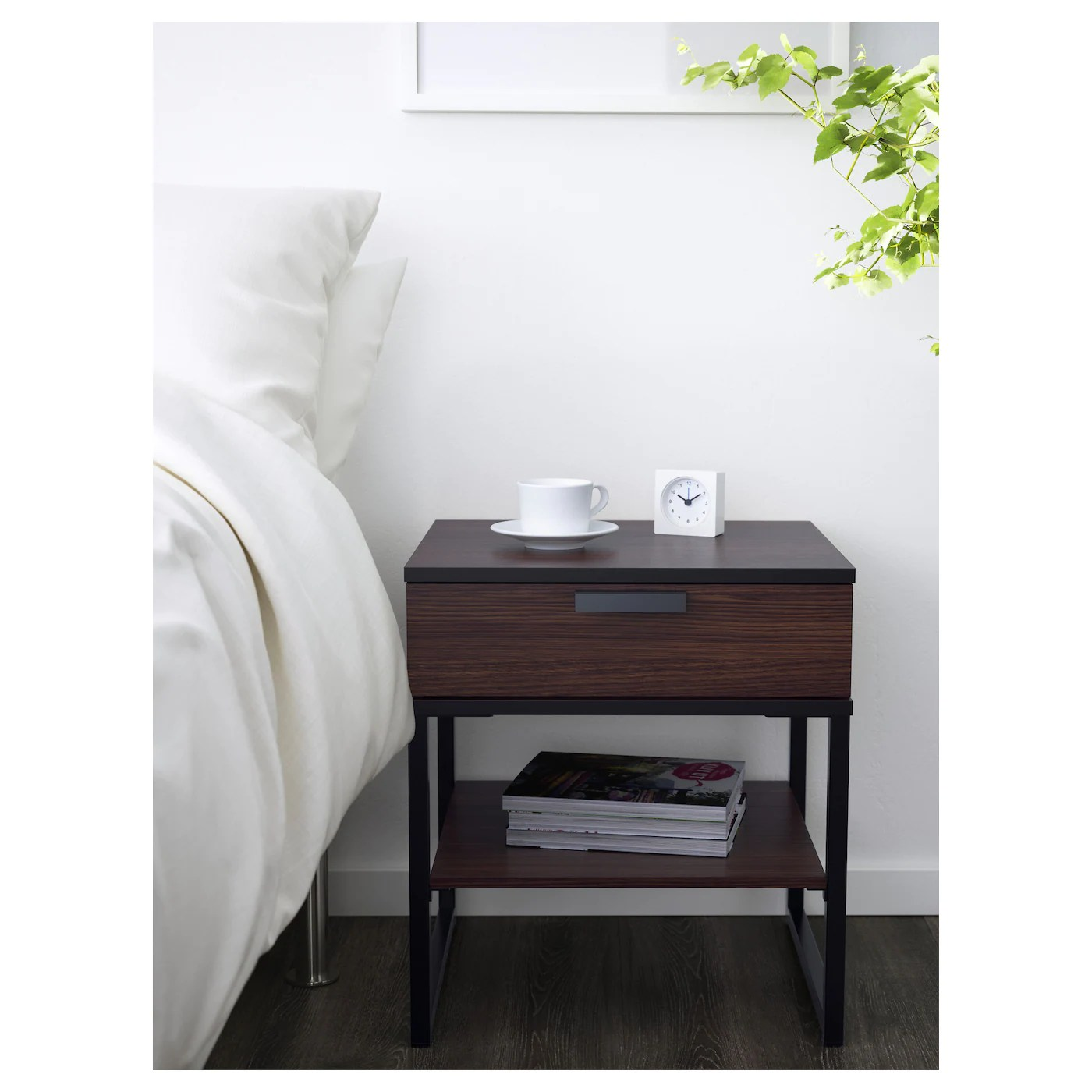 Trysil Bedside Table White Light Grey