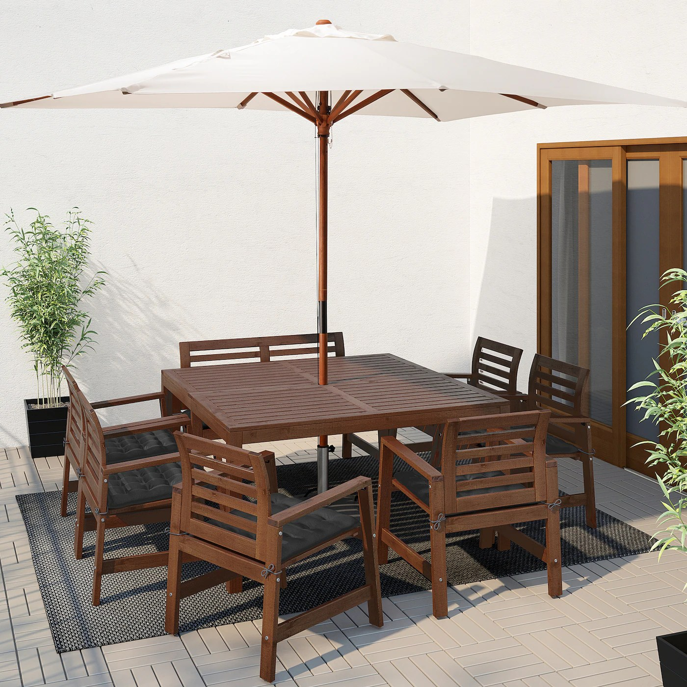 Applaro Table 6 Chairs Armr Bench Outdoor Brown Stained Hallo Black Ikea