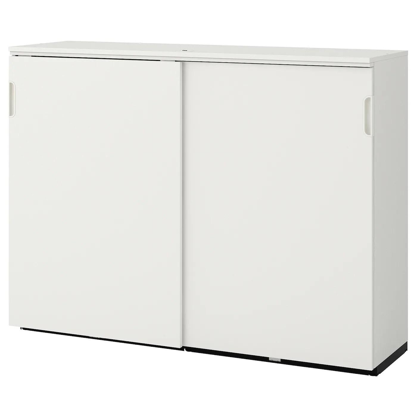 Galant Cabinet With Sliding Doors White 160x120 Cm Ikea