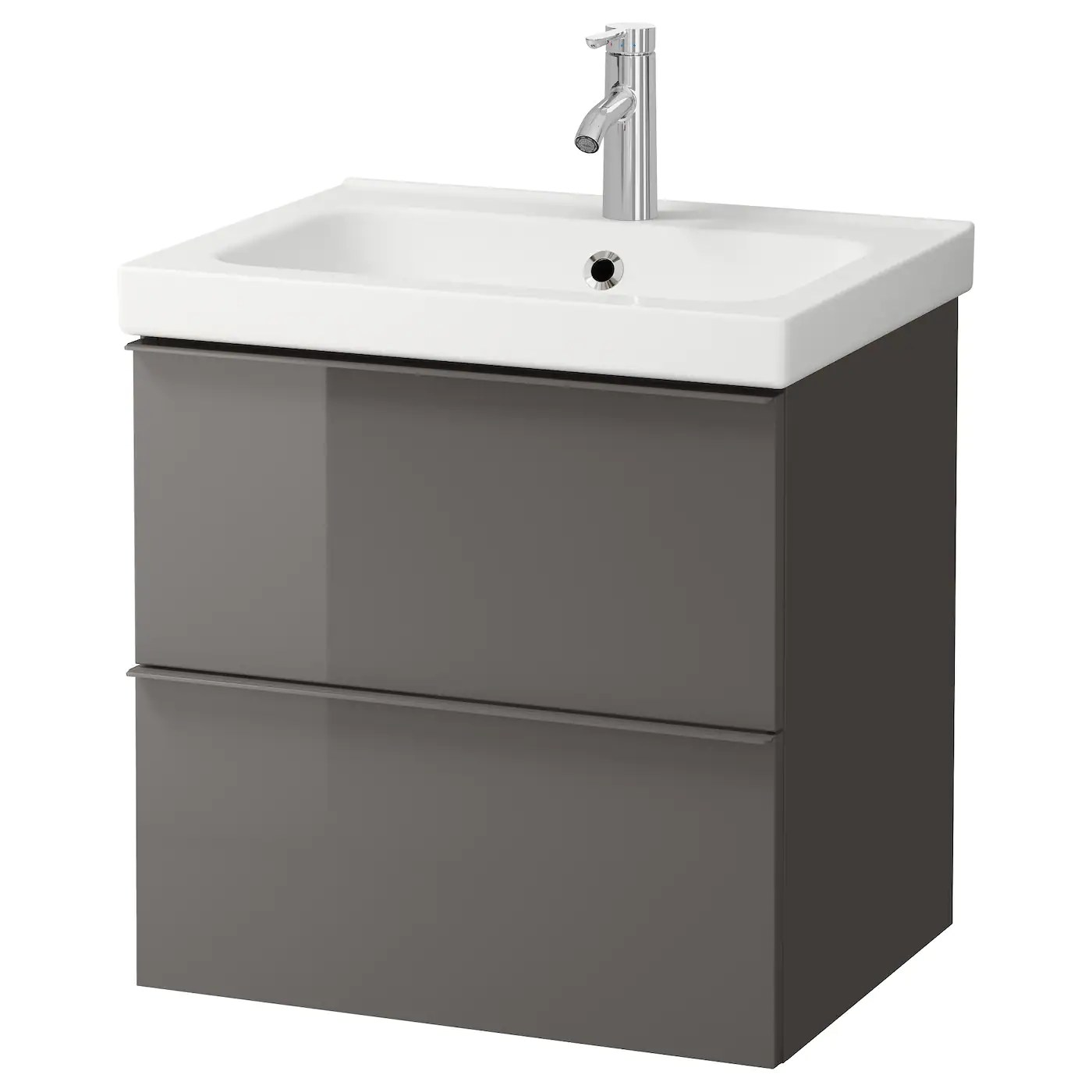Godmorgon Odensvik Wash Stand With 2 Drawers High Gloss Grey Dalskar Tap Ikea