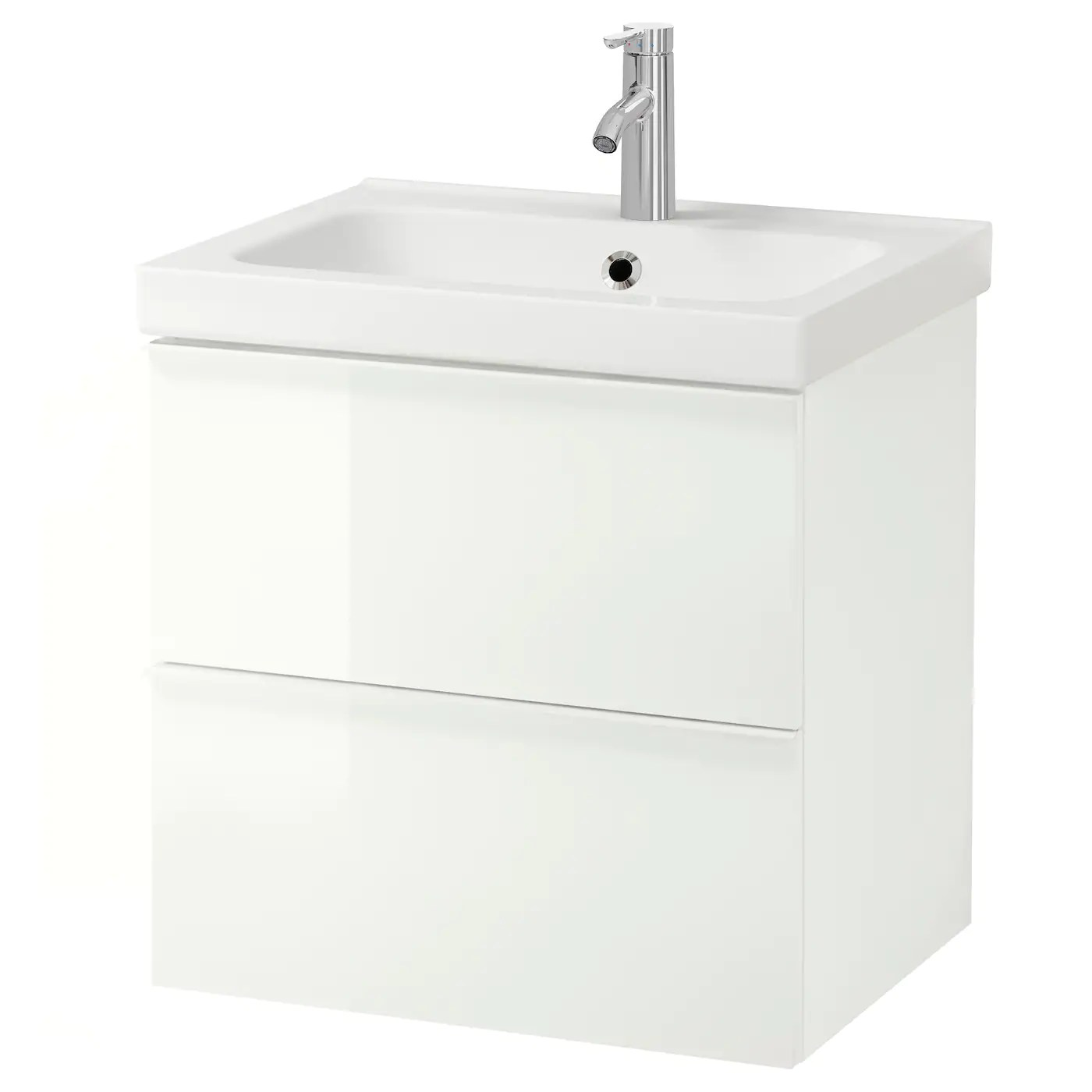 Godmorgon Odensvik Wash Stand With 2 Drawers High Gloss White Dalskar Tap Ikea