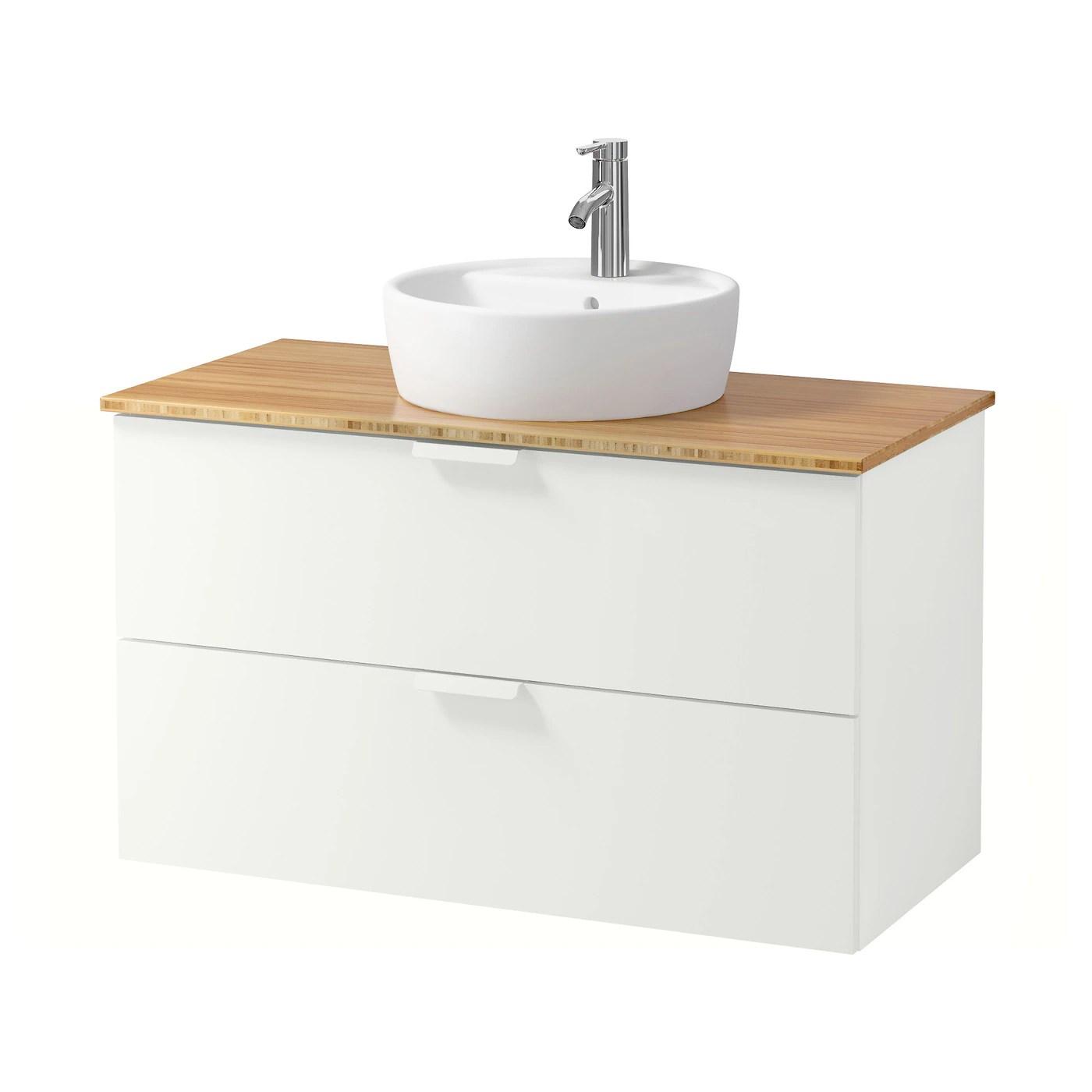 Godmorgon Tolken Tornviken Wsh Stnd W Countertop 45 Wsh Basin White Bamboo Ikea