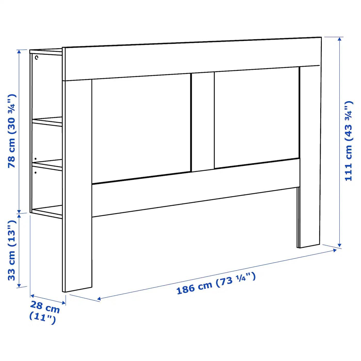 Brimnes Headboard With Storage Compartment White 180 Cm Ikea