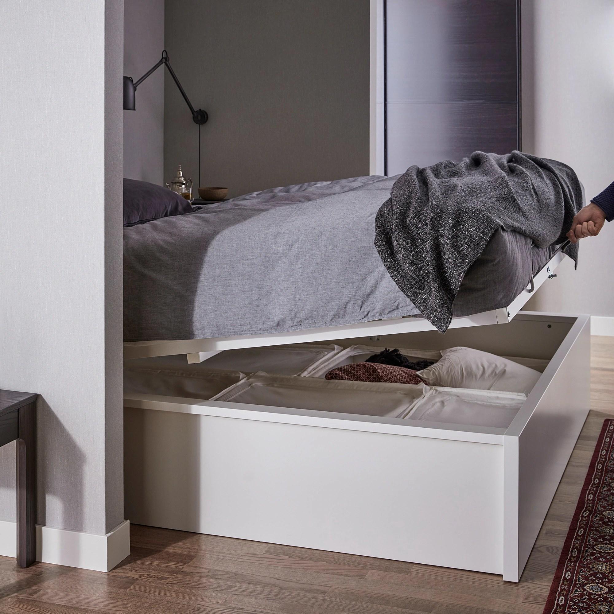 malm cadre lit coffre blanc 160x200 cm