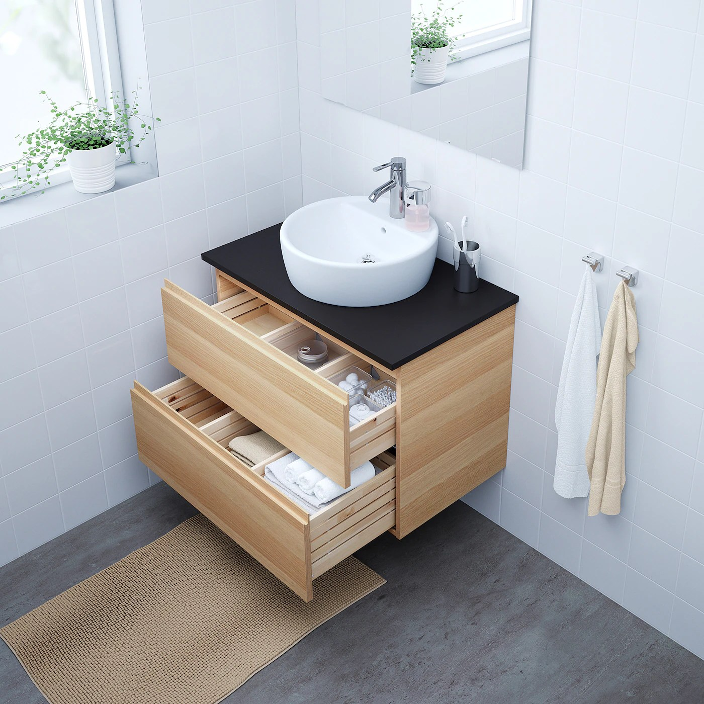 Godmorgon Wash Stand With 2 Drawers White Stained Oak Effect 80x47x58 Cm Ikea