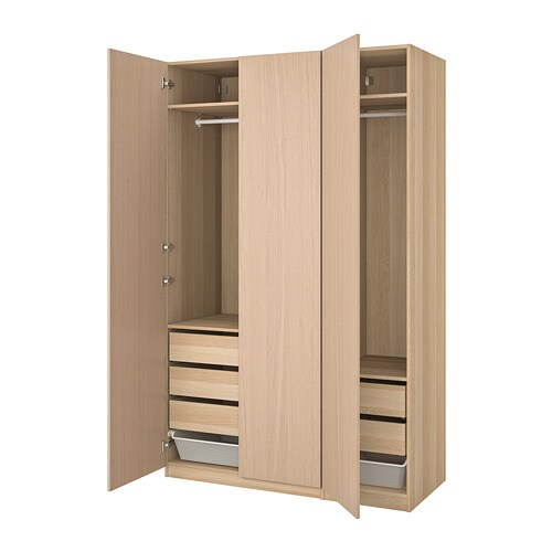 Pax Wardrobe White Stained Oak Effect Forsand White Stained Oak Effect