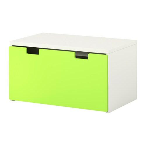STUVA Bänk med förvaring grön, vit Bredd: 90 cm Djup: 50 cm Höjd: 50 cm