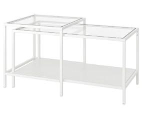 Vittsjo Satsbord Set Om 2 Vit Glas 90x50 Cm Ikea