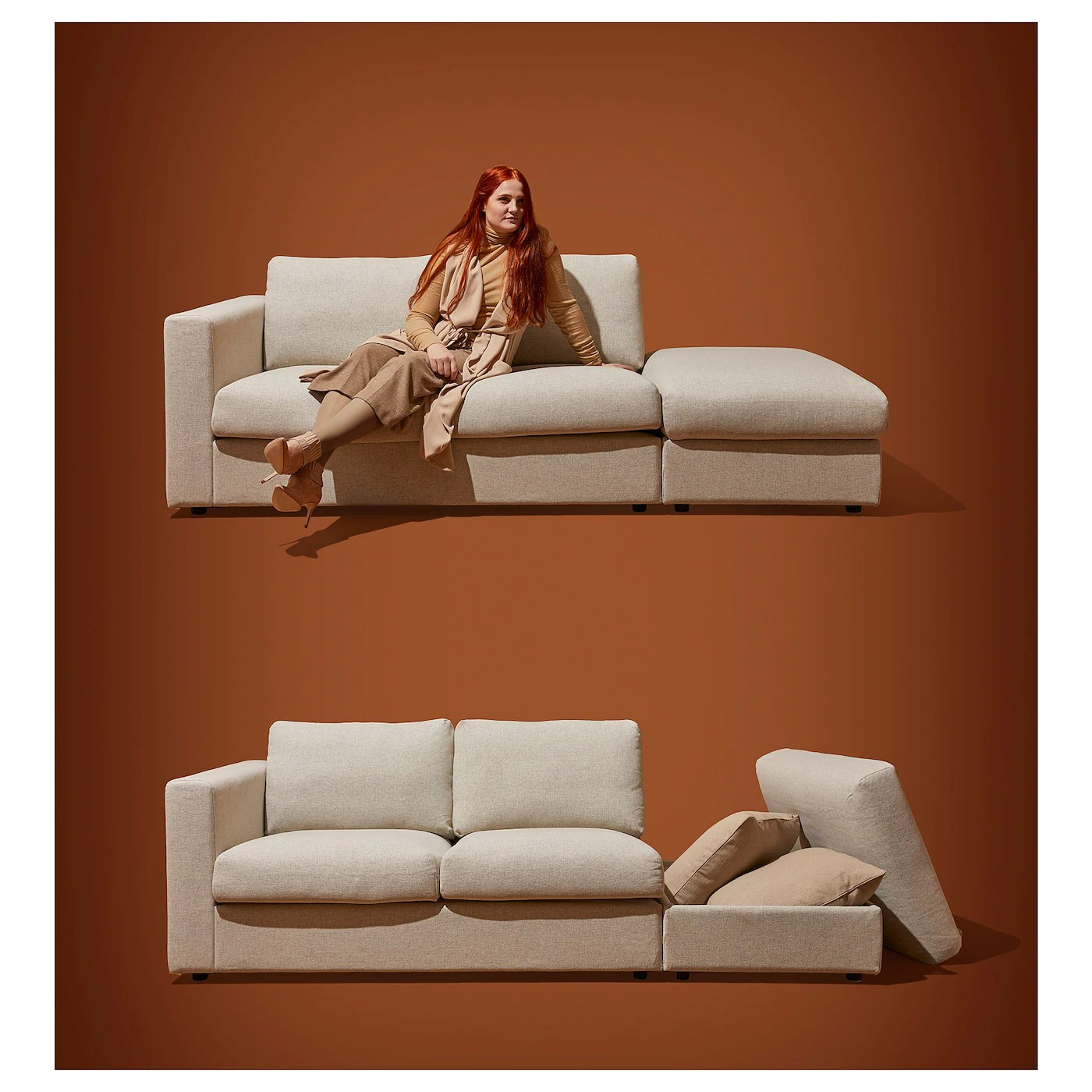 vimle 3 seat sofa with chaise longue