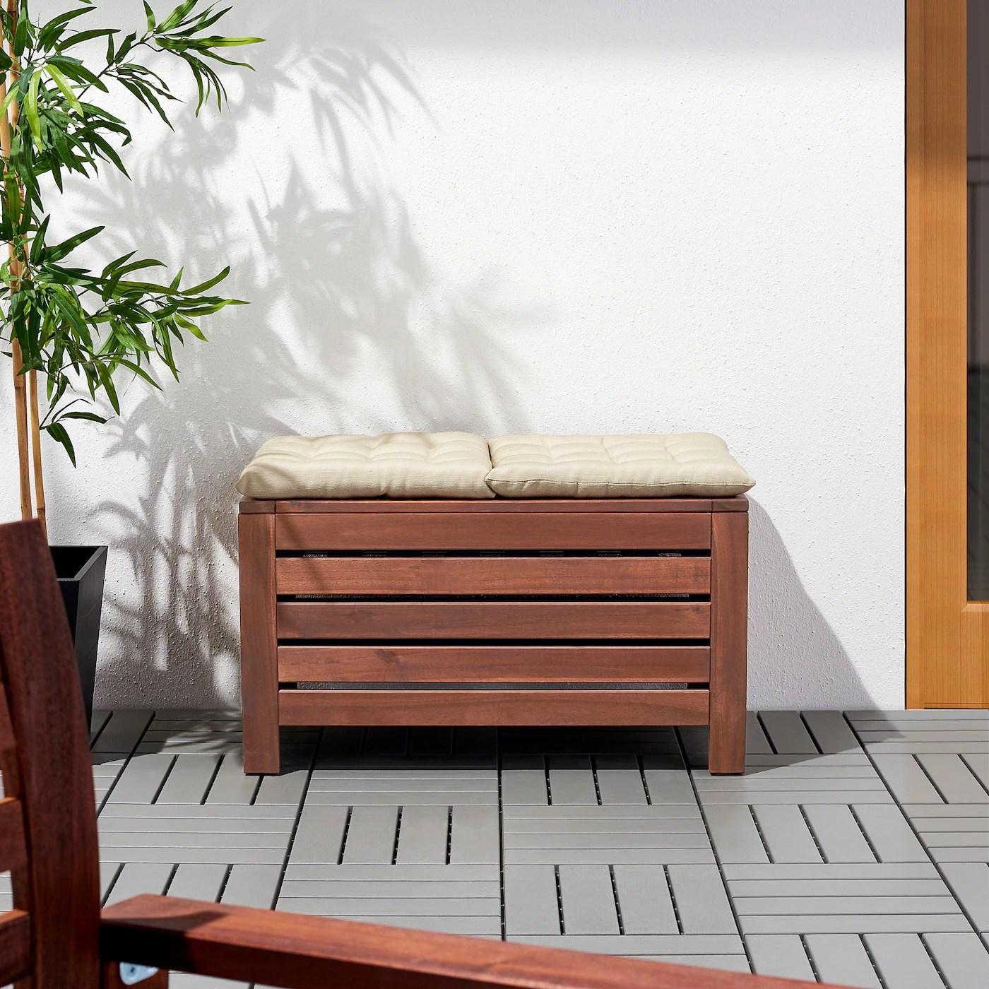 Applaro Storage Bench Outdoor Brown Stained Brown Width 31 1 2 Ikea