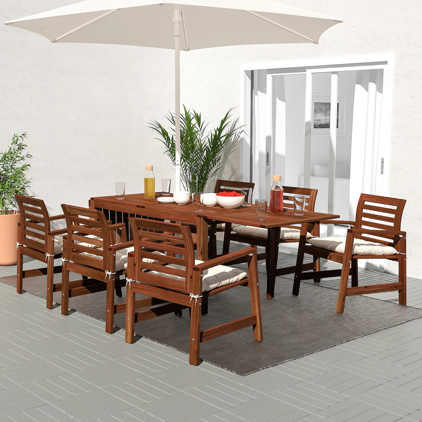 applaro table 6 armchairs outdoor brown stained