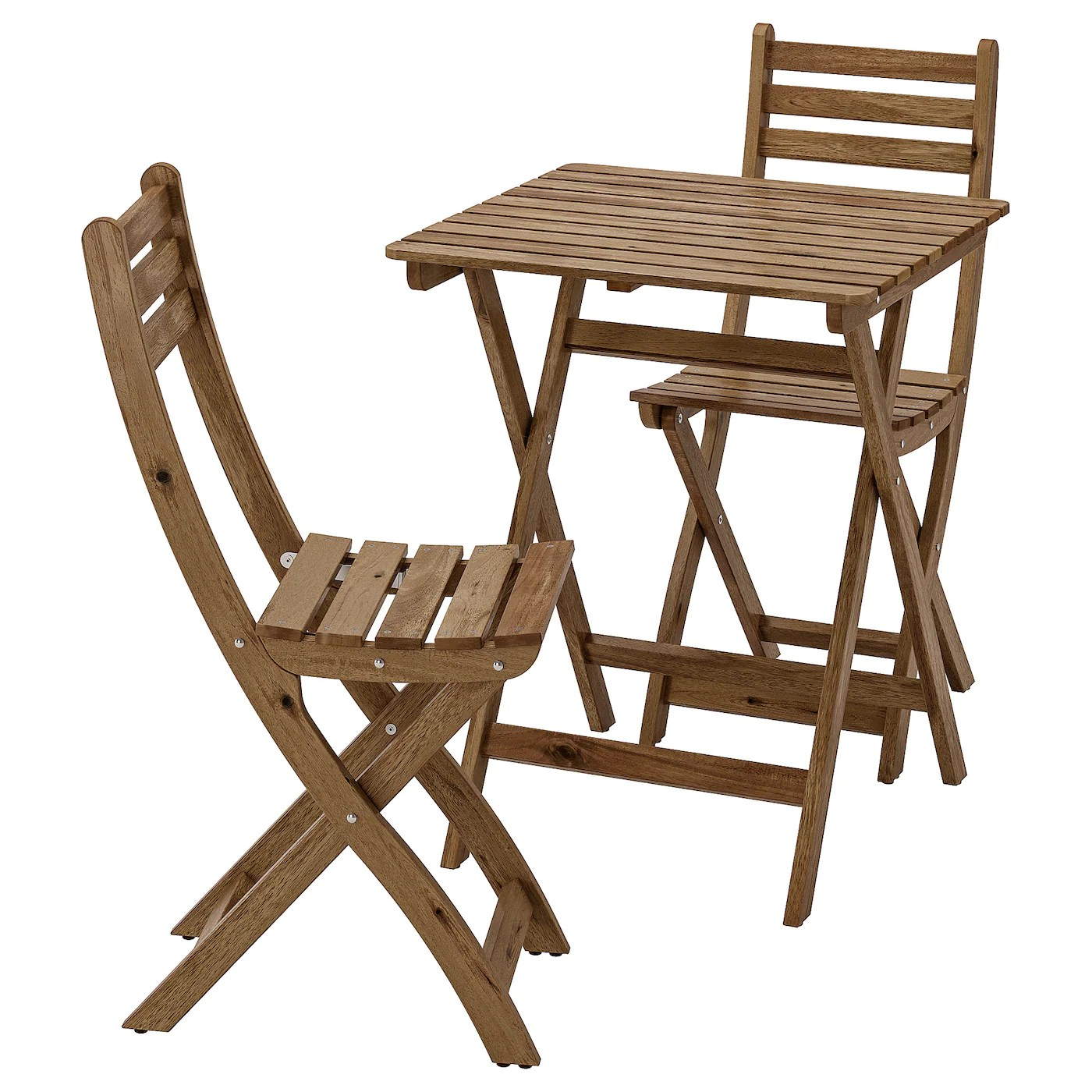 askholmen table 2 chairs outdoor light brown stained