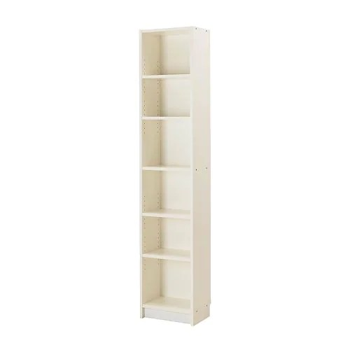 "BILLY Bookcase, white Width: 15 3/4 "" Depth: 11 "" Height: 79 1/2 "" Max load/shelf: 33 lb  Width: 40 cm Depth: 28 cm Height: 202 cm Max load/shelf: 15 kg"