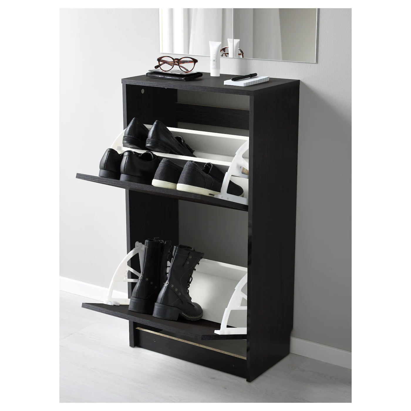 bissa shoe cabinet with 2 compartments black brown 19 1 4x11x36 5 8