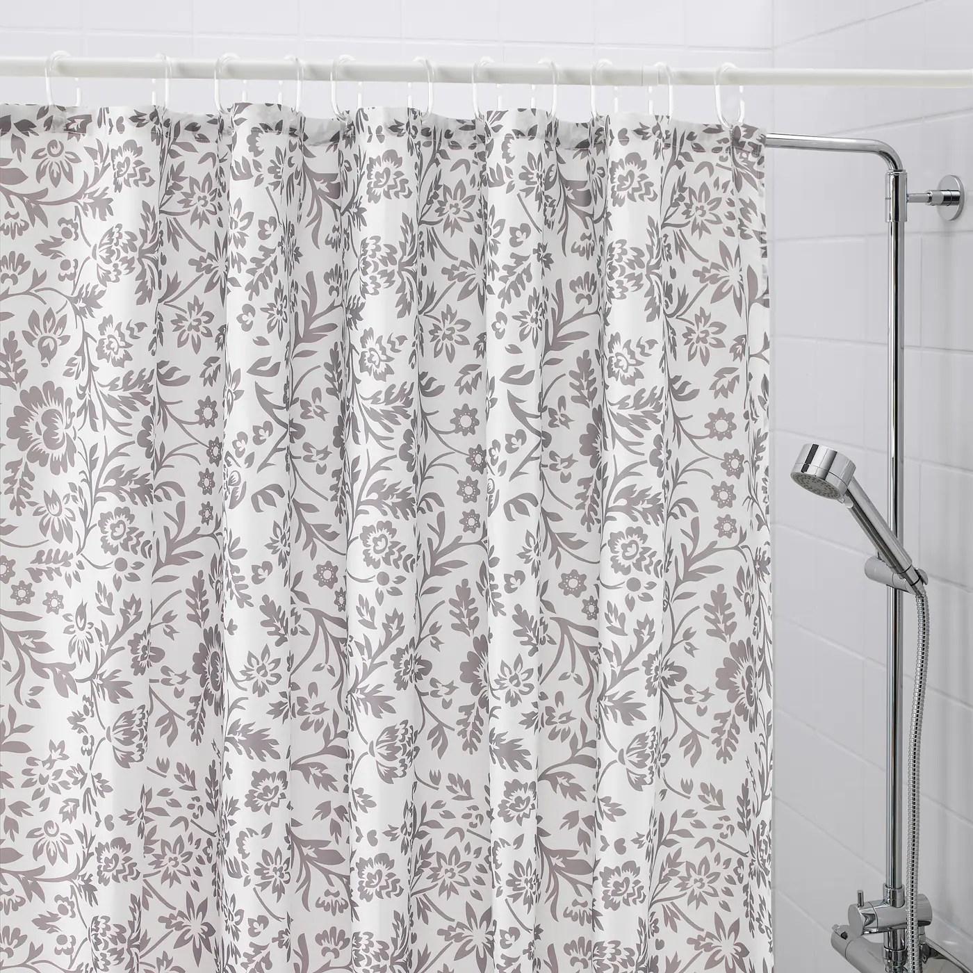 blekviva shower curtain white gray 71x71