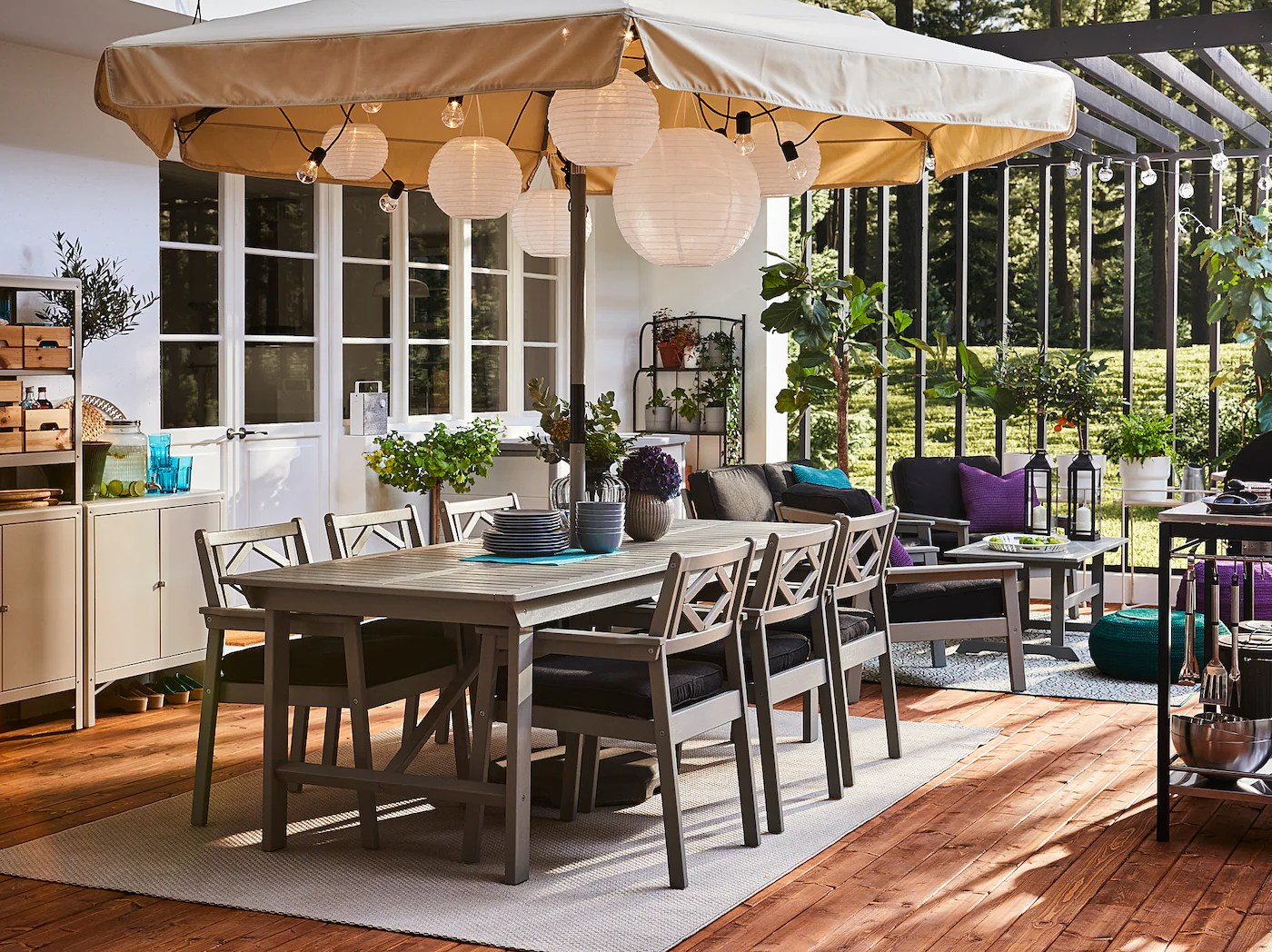 bondholmen table 6 chairs outdoor gray stained