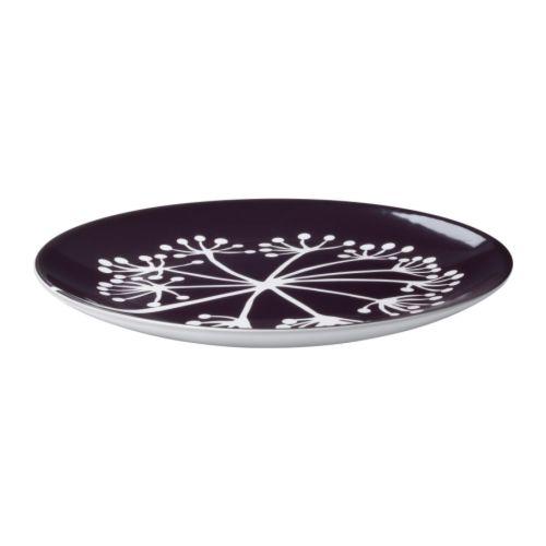 """FÄRGRIK HÖGST Side plate, dark lilac, white Diameter: 8 """"  Diameter: 21 cm"""