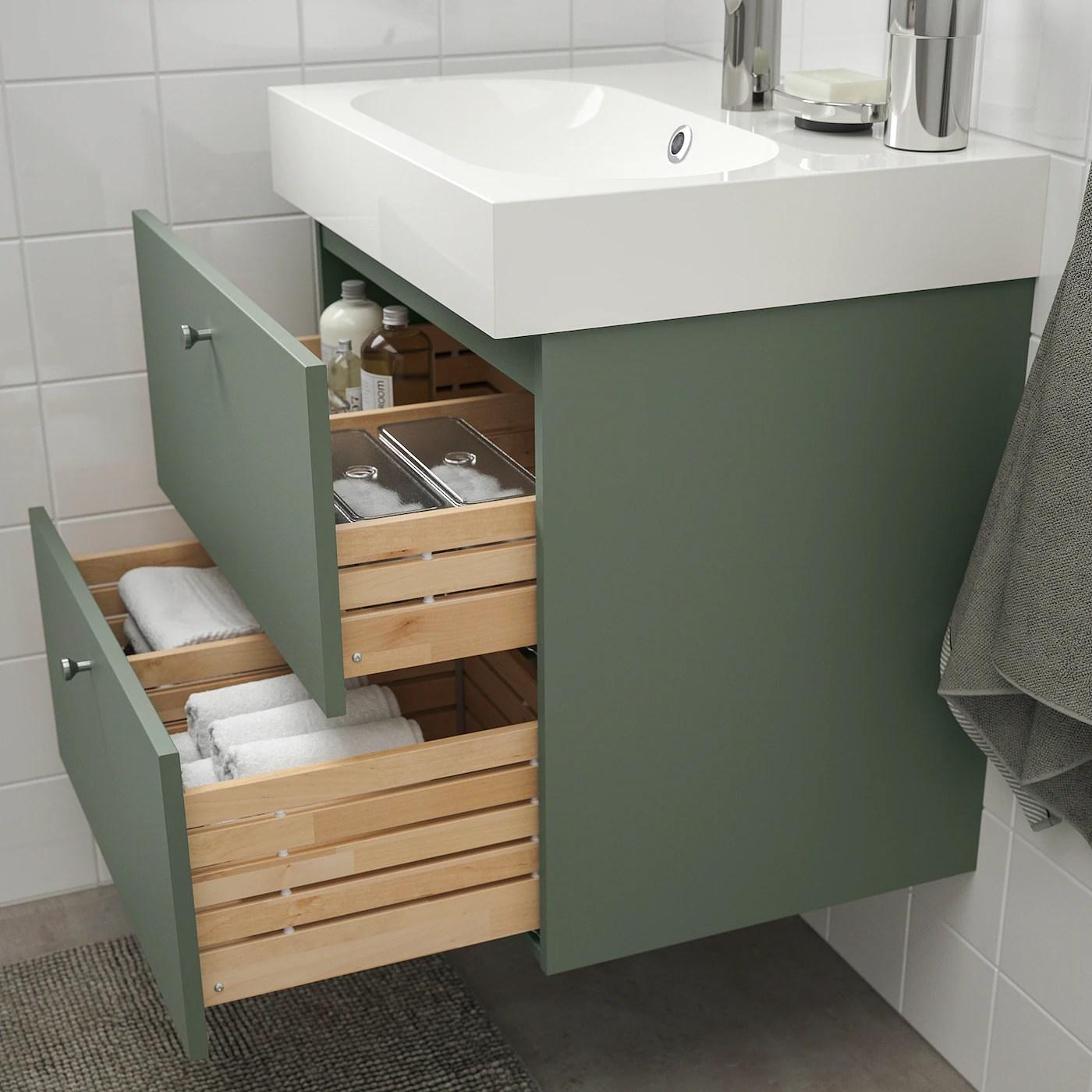 Godmorgon Braviken Sink Cabinet With 2 Drawers Gillburen Gray Green Brogrund Faucet Ikea