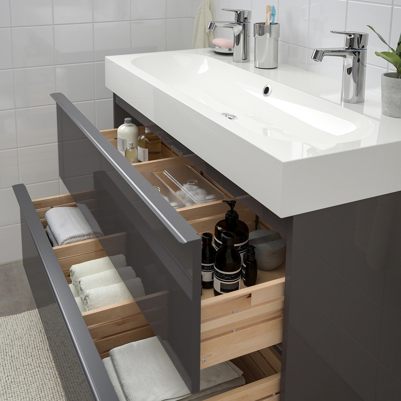 godmorgon braviken sink cabinet with 2 drawers high gloss gray brogrund faucet 39 3 8x18 7 8x26 3 4