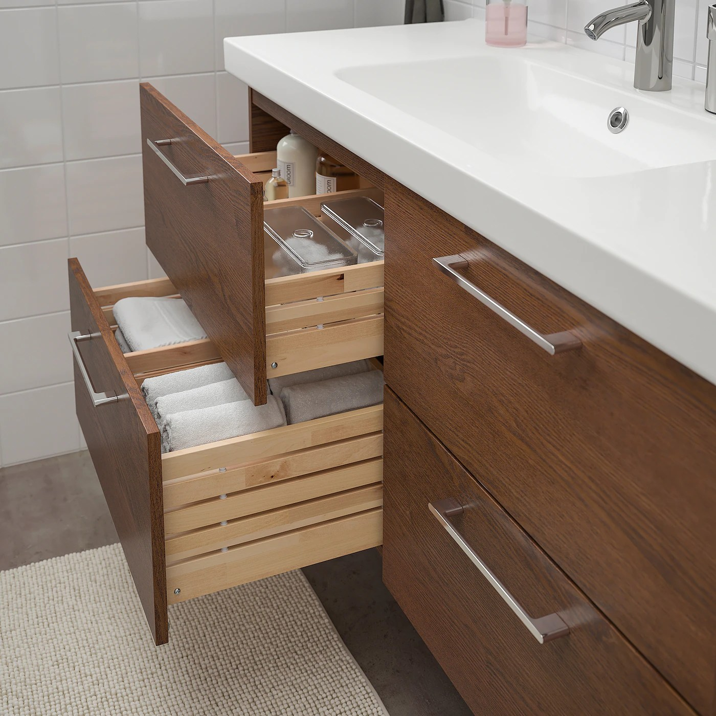 godmorgon odensvik sink cabinet with 4 drawers brown stained ash effect dalskar faucet 48 3 8x19 1 4x25 1 4