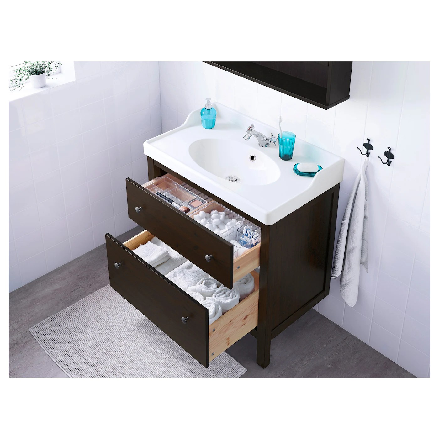 hemnes sink cabinet with 2 drawers black brown stain 31 1 2x18 1 2x32 5 8