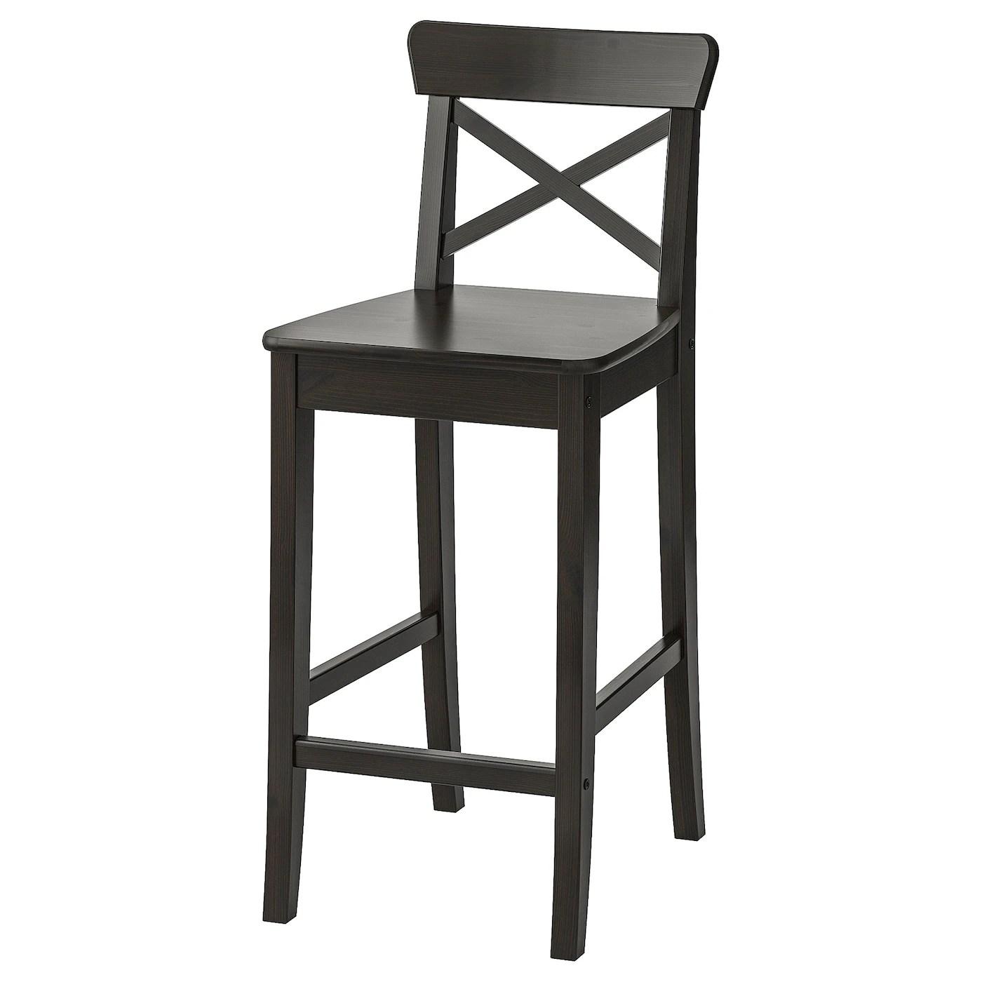 Ingolf Bar Stool With Backrest Brown Black Ikea