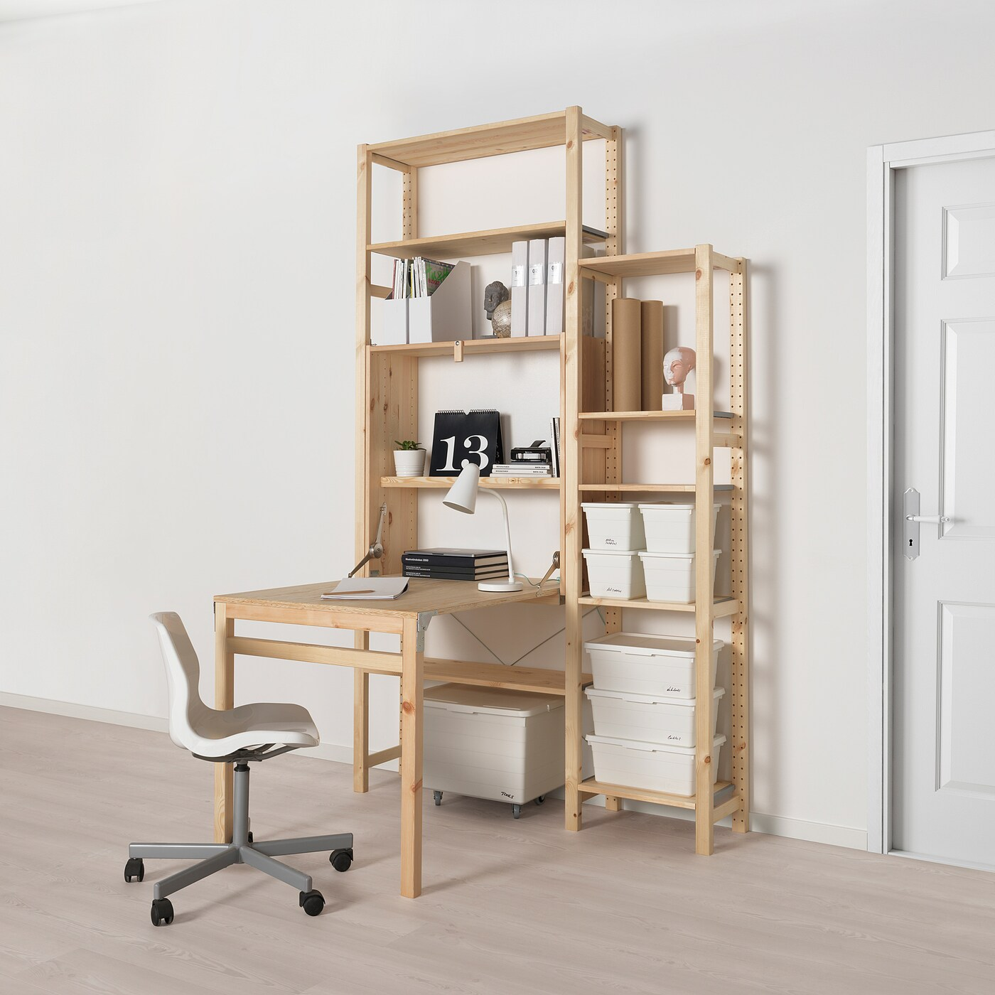 Ivar Storage Unit With Foldable Table Pine Ikea