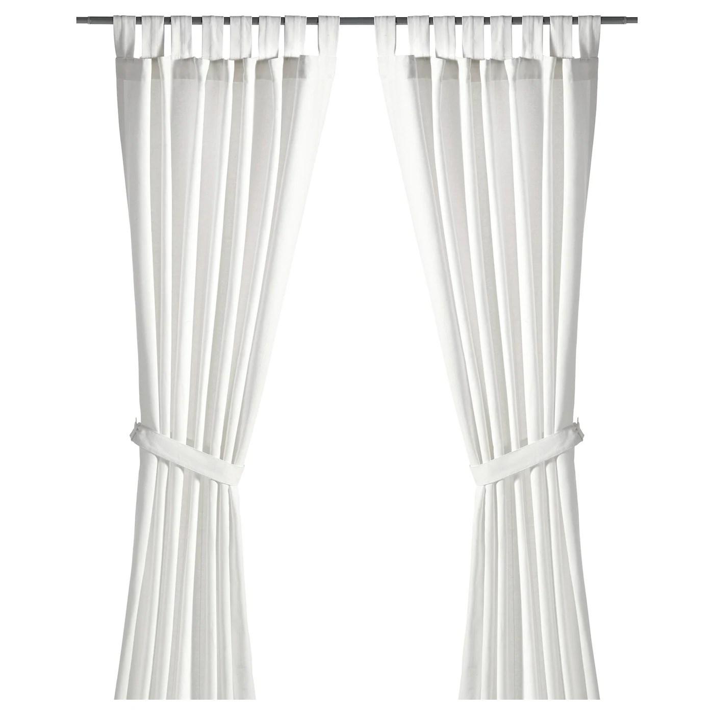 lenda curtains with tie backs 1 pair white 55x98