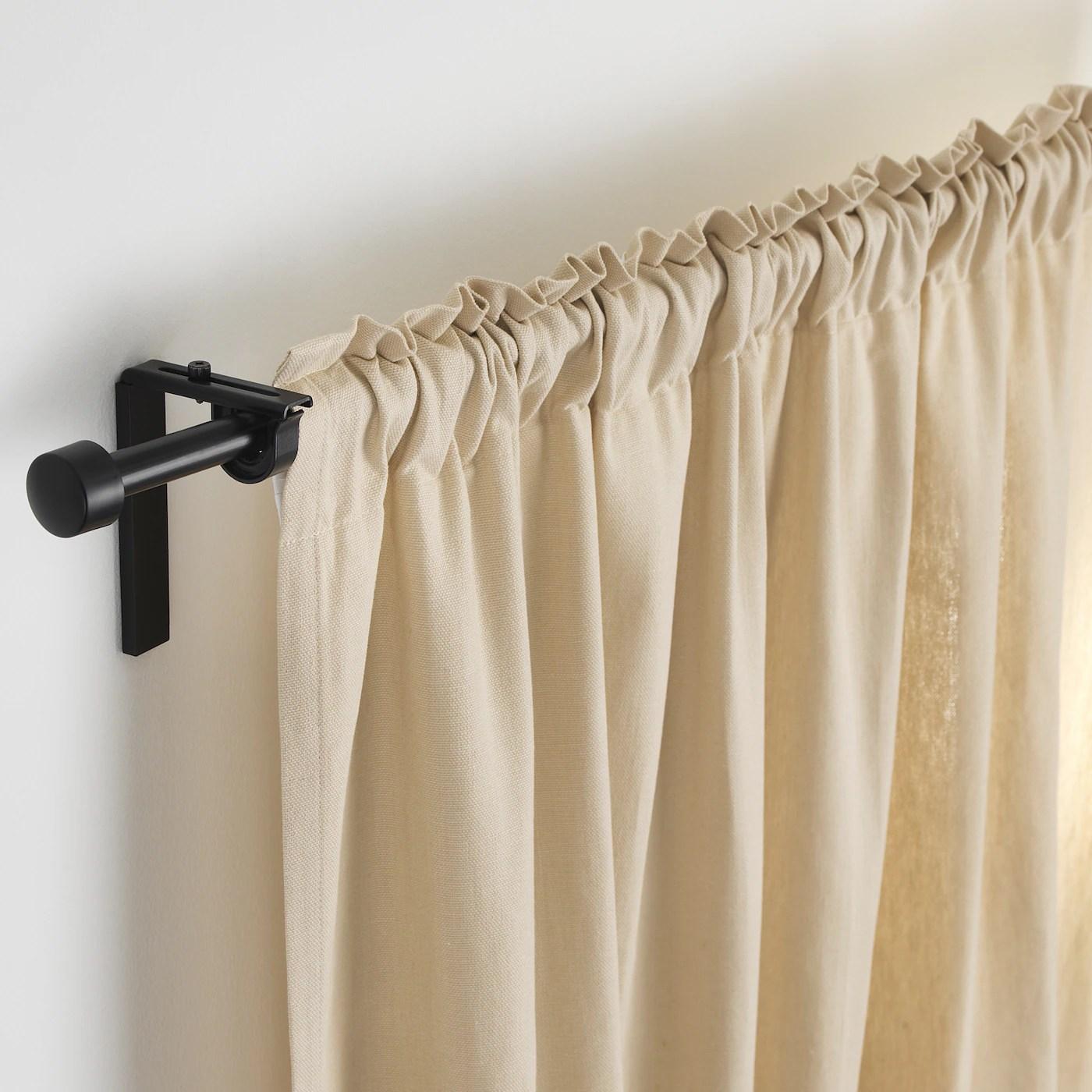 racka curtain rod black 28 47