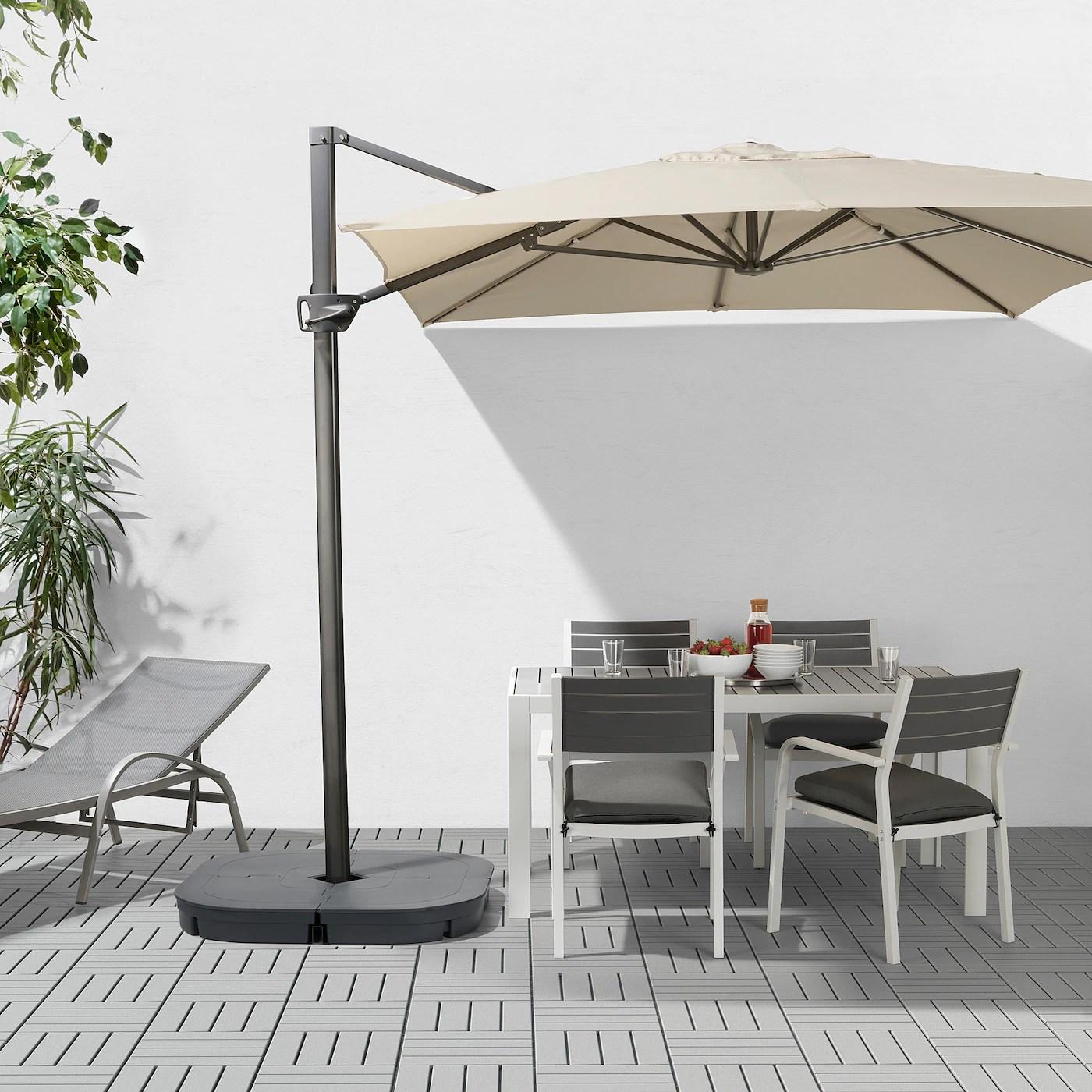 seglaro svarto hanging umbrella with base tilting beige dark gray 129 7 8x94 1 2