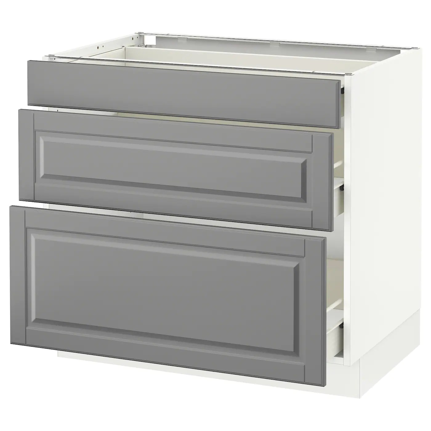 Sektion Base Cabinet With 3 Drawers White Forvara Bodbyn Gray 36x24x30 Ikea
