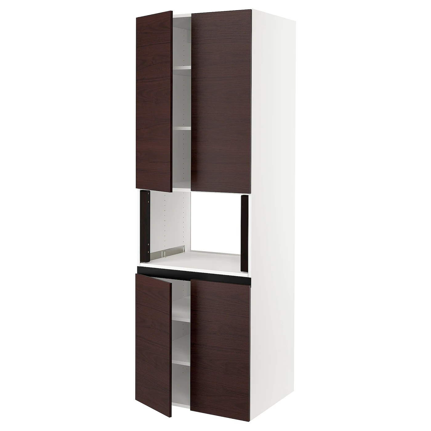 sektion high cabinet for microwave 4doors white askersund dark brown ash effect 30x24x90