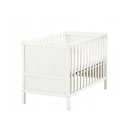 SUNDVIK Crib IKEA The bed base can be placed at two different heights. Converts into a toddler bed.