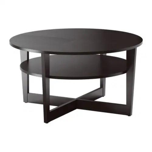 "VEJMON Coffee table, black-brown Diameter: 35 3/8 "" Height: 18 1/2 ""  Diameter: 90 cm Height: 47 cm"