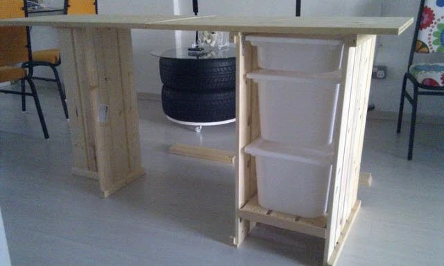 TROFAST ikea storage boxes in a sewing table