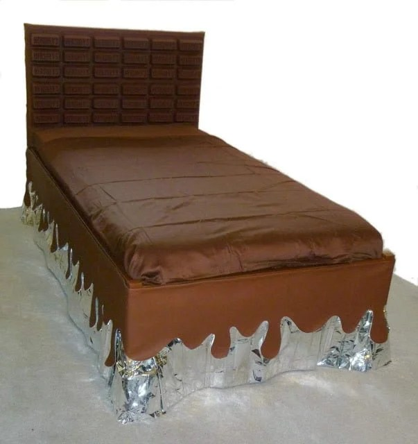 Unique Bed with huge chocolate bar