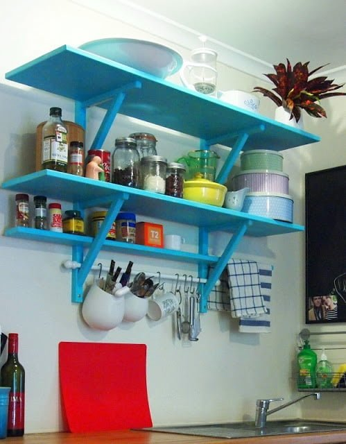 Elegant  Tiered Country Kitchen Shelves