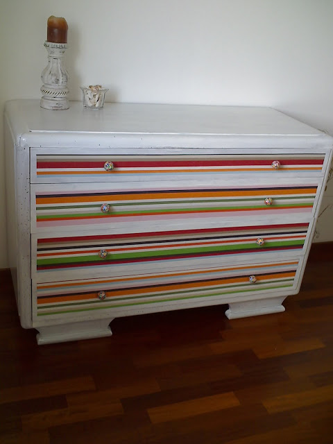 Old dresser turned new with Ikea fabric